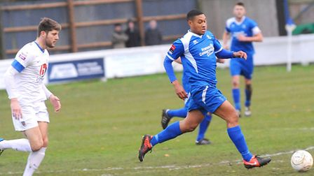 Bury Town v Eastleigh. FA Trophy First Round.Pictured is Ryan Semple.