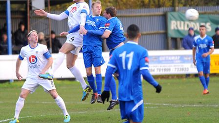 Bury Town v Eastleigh. FA Trophy First Round.Left to right, Will Evans and Ross Bailey.