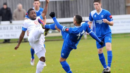 Bury Town v Eastleigh. FA Trophy First Round.Left to right, Yemi Odubade and Jordan Patrick.