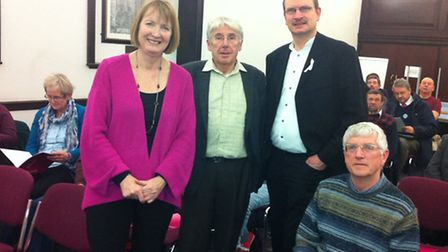 Harriet Harman with Bill Knowles and Sandy Martin at a meeting of the Ipswich Labour Party
