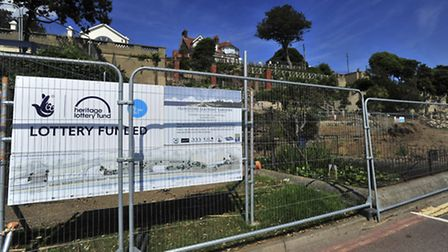 Work has been halted on the renovation of Felixstowe's seafront gardens.