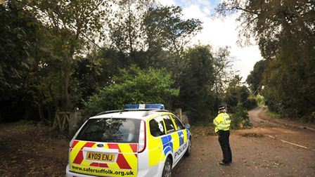 Police attend the scene of a fallen tree on a power cable in Strickland Manor Road, Yoxford , which