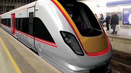 An artist's impression of an Aventra train.