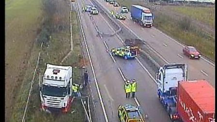 The scene of the accident on the A14 between Trimley St Martin and Seven Hills. Image from Highways