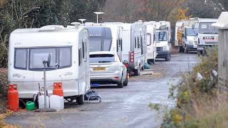 Travellers on Orttewell Road, near Moreton Hall and Great Barton.