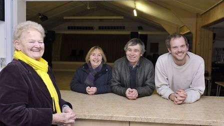 Wilby Village Coronation Hall committee Marian Ward, Carol and Les Cropley and Nick Hopkins are cele