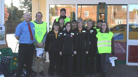 Framlingham Rotary Club members collecting at Wickham Market Co-operative for their Shelter Box appe