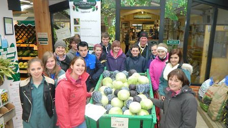 Sally Bendall, front row righ, at Hollowtrees farm, with students