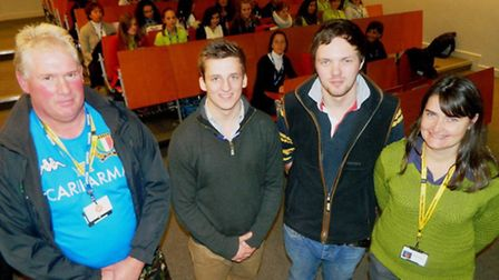 Charlie Askew, livestock lecturer, John Lemon and Brett Robinson, agricultural students from the Eas