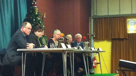 Councillors and education chiefs at a meeting with parents to discuss changes to schools in Needham