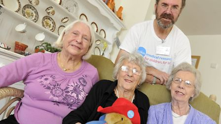 Andrew King stopped by Cotman House Residential Home, with from left, Doreen Dann, Patricia Capon an