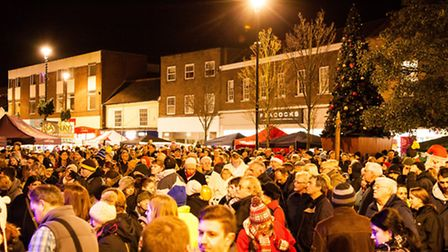 The crowds out in force in Stowmarket for the lights switch-on