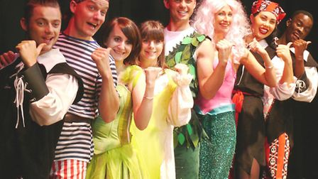 Jeff Brazier and the cast of the Clacton pantomime Peter Pan.