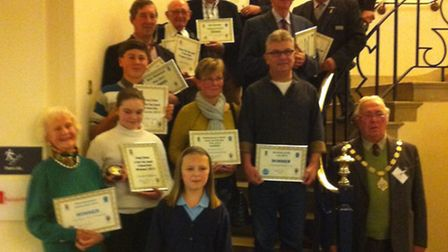 Winners of the St Edmunds Day Awards organised by Bury St Edmunds Town Council, with council chairma