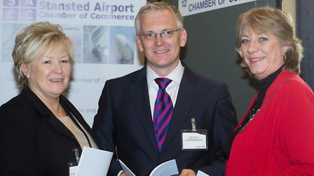Julie Budden, chair of the Stansted Airport Chamber of Commerce, right, with Andrew Harrison, Stanst