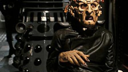 Terry Molloy as the scarred but dangerous Davros, inventor of the Daleks,