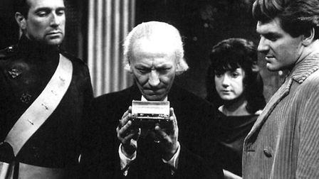 Peter Purves with Nicholas Courtney, William Hartnell and Adrienne Hill in the Dr Who story The Dale