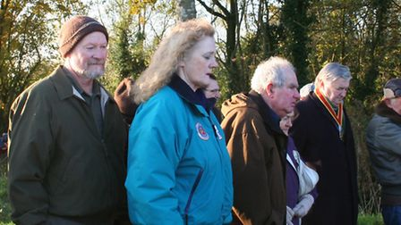 Crowds of people remembered the men who lost their lives in the wartime crash