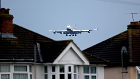 A British Airways 747 jet coming in to land at Heathrow Airport.
