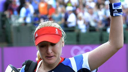 Elena Baltacha waves goodbye to the crowd after losing in the second round of the London 2012 Olympi