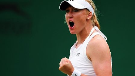 Elena Baltacha celebrates during her run to the second round of Wimbledon last year