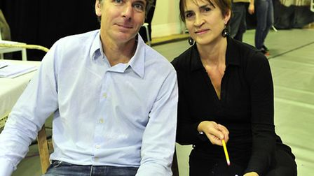 Writter Robin Brooks and Director Fiona McAlpine in rehearsal for new play Brittens Got Talent