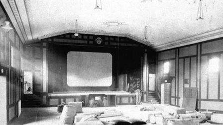 The auditorium of Leiston Picture House during refurbishment work in the 1930s