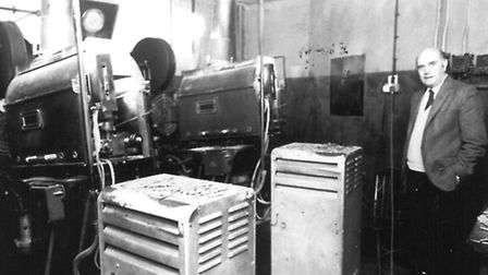 Leiston Film Theatre's former manager, Peter Free, in the old projection room, as it was from 1949 t