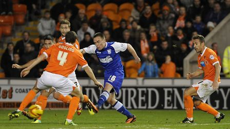 Paul Taylor scores Ipswich's second at Blackpool