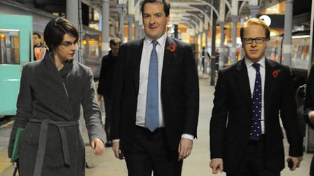 George Osborne at Norwich Railway Station flanked by Chloe Smith and Ben Gummer.