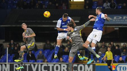 Ipswich Town v Leicester City. Luke Chambers goes close with a header at 2-1.