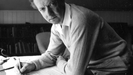 Composer Benjamin Britten at work in his studio at The Red House