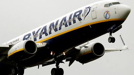 A Ryanair plane coming in to land.
