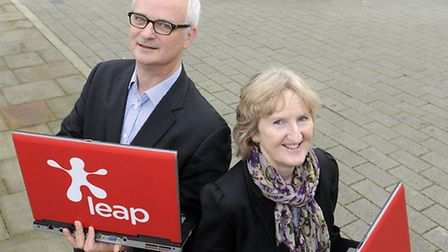 Dee Crowe of Suffolk Chamber with Miles Cole of Leap.