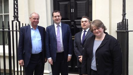 Tim Yeo, Chancellor George Osborne, David Ruffley, and Therese Coffey outside Number 11 Downing Stre