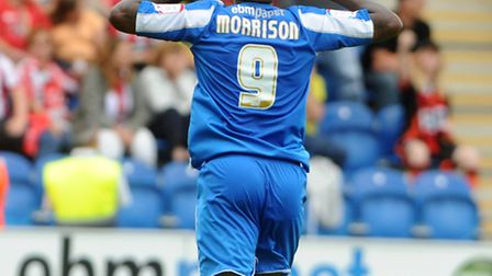 Clinton Morrison runs towards the Sheffield United fans, cupping his ears, following his equaliser l