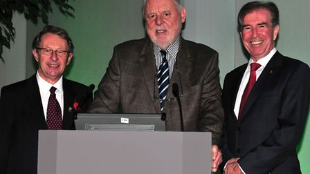 Terry Waite with Tom Griffin, chairman of Orwell Housing Association, left, and Stephen Javes, the a