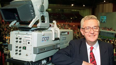 John Cole at the Conservative Party conference for the last time, before his retirement from the BBC