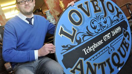 James Mander is auctioning off a sign from the show Lovejoy on Saturday as part of a lot with signed