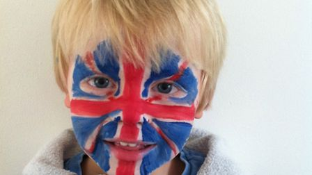 Ellen's son with his face painted