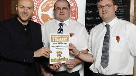 From left, TV chef Simon Rimmer with Darren Moss and Keith Newman of Frinton Road Butchers in Holla