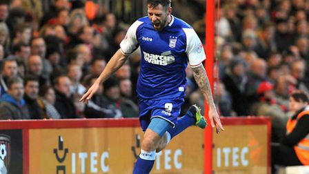 Daryl Murphy celebrates after putting Ipswich in front with a second half goal at Bournemouth