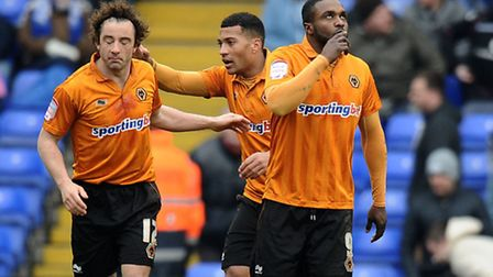 Stephen Hunt (left) and Sylvan Ebanks-Blake (right) pictured together during their time at Wolves