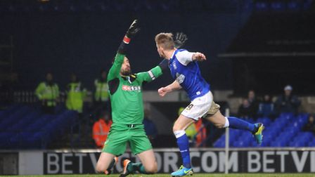 Luke Hyam heads against the bar in the dying moments of Ipswich Town's 1-1 home draw with Watford