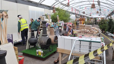 Shelves and stands were blown down at The Wyevale Garden Centre near Woodbridge.