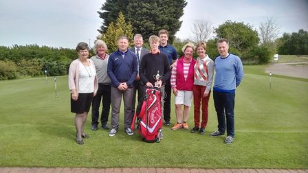 Pictured with the other prize winners and Diss Golf Club captain Paul Wright (fourth from left) is