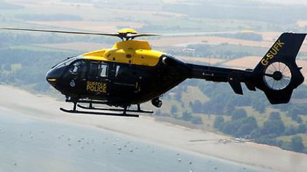 A police helicopter was used to locate two suspected burglars.