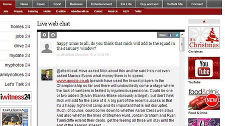 The sports team run a live web chat after most Ipswich Town games so fans can get involved and have