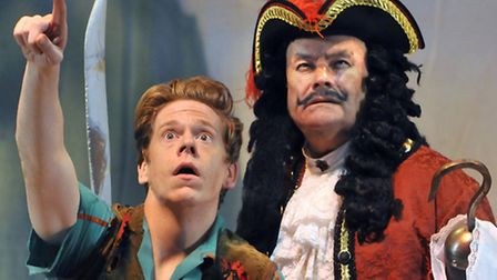 The crowds are up there! Lloyd Warby and Christopher Ellison in Peter Pan at the Regent.