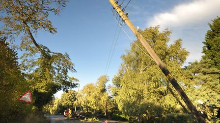 Trees brought down power lines in Hacheston during St Jude's storm.